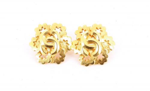 Chanel 1996 Golden Logo Flakes Earrings