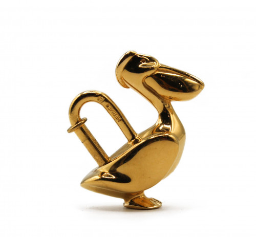 Hermes gold plated Pelican bag charm