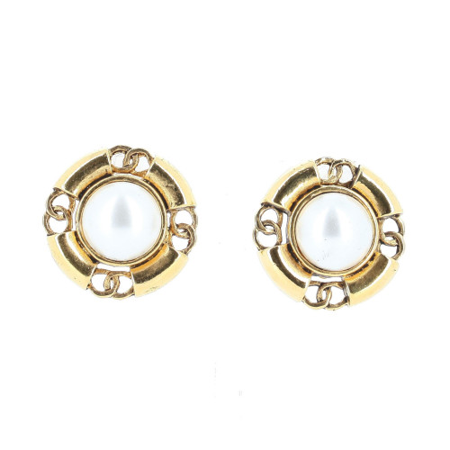 Chanel 1990's White Sphere and Four Side Logo Earrings