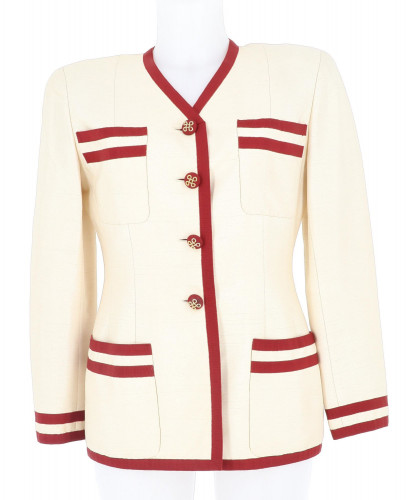 Chanel beige silk 1991 jacket and skirt