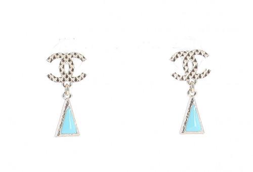 Chanel 2018 Blue Triangle Earrings