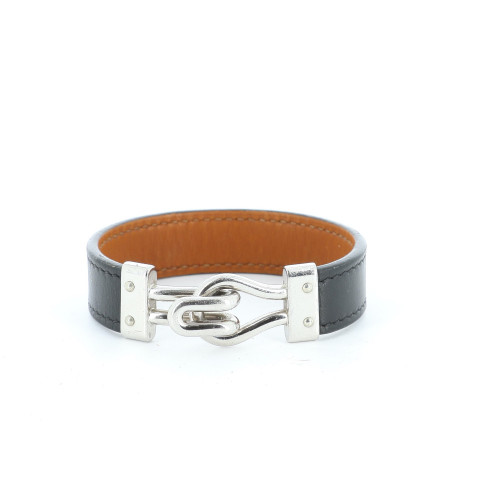 Hermes 2005 black leather bracelet