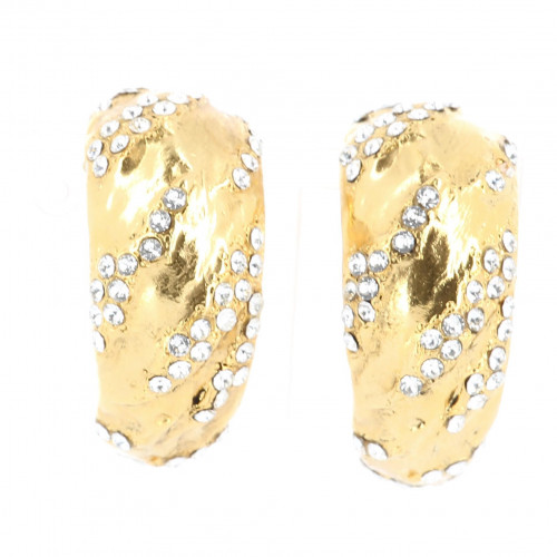 YSL XL Golden Strass Earrings
