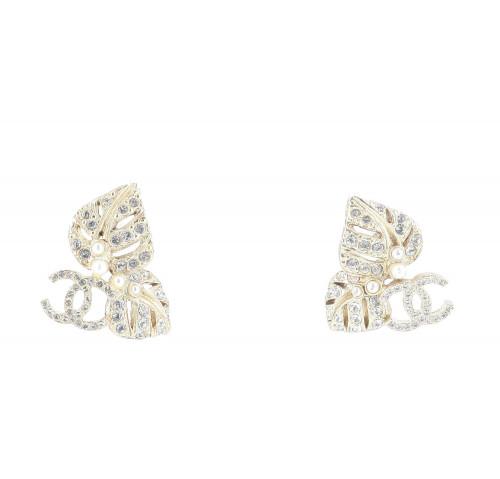 Chanel Leaf Strass Earrings