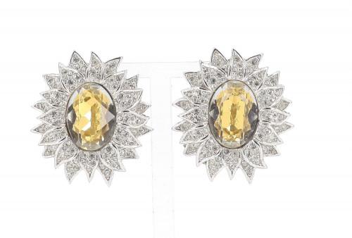 Dior Flower Strass Earrings