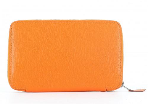 Hermès Orange Leather Compact Wallet