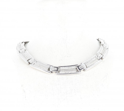 Christian Dior Silver Plate With Strass Necklace