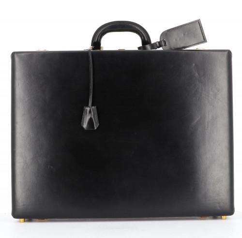 Hermes Black box leather briefcase