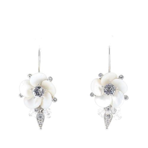 Christian Dior White Flower Earrings