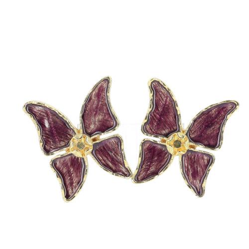 Yves Saint Laurent purple butterfly earrings