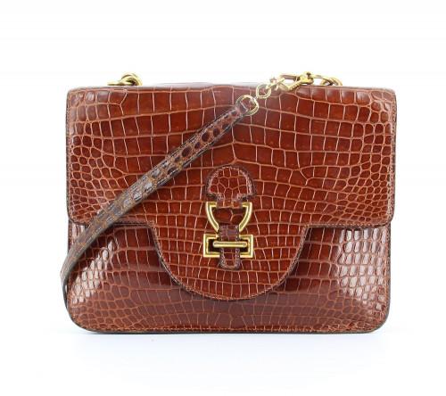 Hermès Sandrine Brown Croco Porosus Vintage bag  Exotic skin