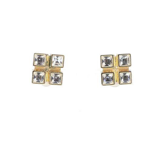 Yves Saint Laurent Strass Square Earrings