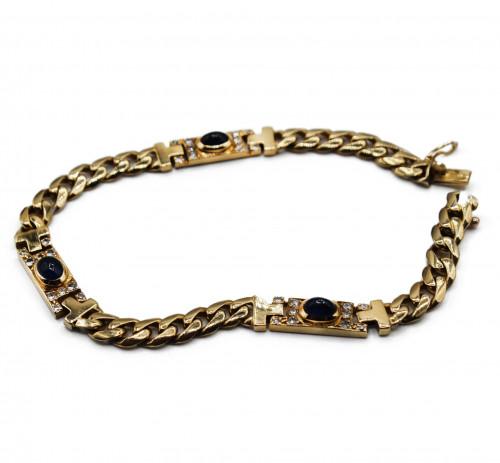 Vintage french diamonds and shaphyrs  18k gold bracelet