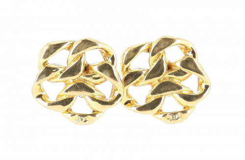 Chanel Gold Plated Chain Earrings