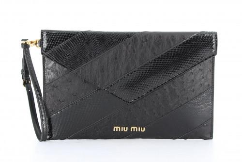 Miu Miu Black lezard/ostricth clutch