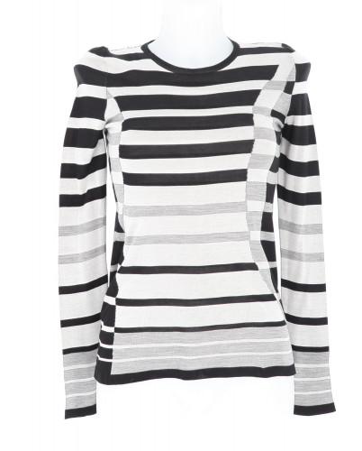 Chanel grey and blakc stripped Tshirt