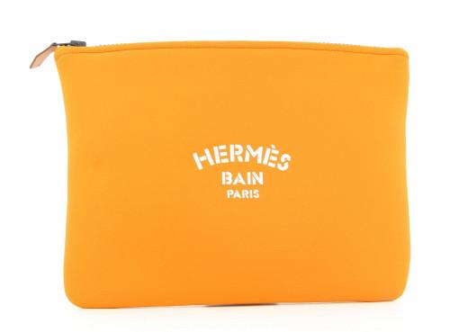Hermes Orange Pouch Bain