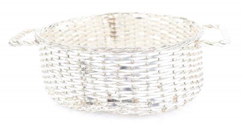 Christian Dior Silver Tone Metal Woven Basket