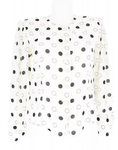 Louis Féraud White Skirt with Black Spots