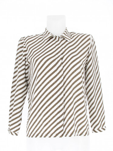 Louis Féraud White Shirt with Brown Stripes