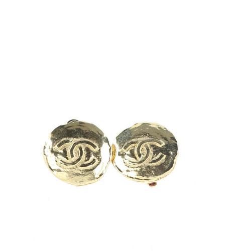 Chanel Gold Logo Earrings