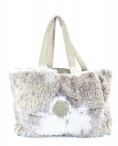 Chanel Grey Fur Tote
