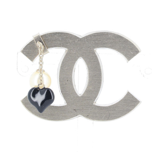 Brooche Chanel signé double cc perles