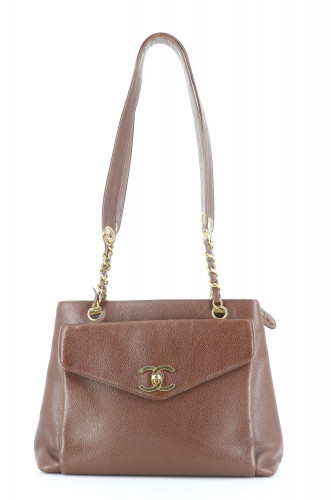Chanel Brown Leather Vintage Shopper
