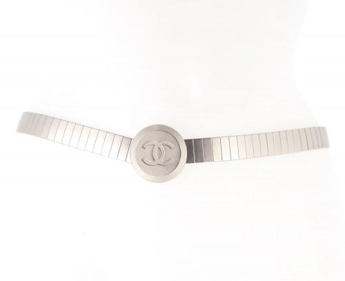 Chanel steel logo belt
