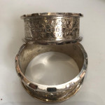Cased set of 6 numbered silver napkin rings