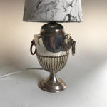 Edwardian silver plate urn converted into a table lamp, circa 1910