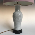 19th century crackle-glazed vase converted to a table lamp.