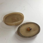A Georgian horn table snuff box mounted with a citrine and silver frame circa 1770.