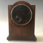 Sheraton revival mahogany inlaid mantel clock, circa 1910