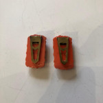 Rare pair of 1930's coral Bakelite carved dress clips