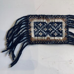 1920's hand beaded black, gold, and white flapper necklace