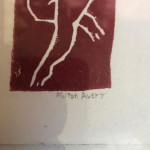 Mid-century linocut of reclining nude signed in pencil by Milton Avery