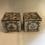 Pair of 18th century Dutch hand-painted pottery tulip cache pots