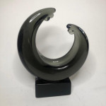 Mid-century Murano art glass sculpture on a black glass base