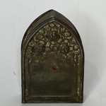 19th century pressed brass pilgrim's trinket box complete with trinkets
