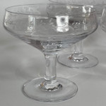 Set of 1940's French etched glass champagne coupes
