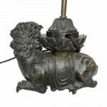 18th century Chinese bronze foo dog censer converted to lamp