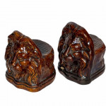 Pair of 18th lion century treacle-glazed sash window supports