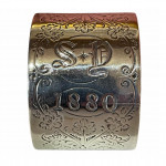 Engraved London silver napkin ring, 1880