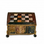 Early 19th century German pietra dura and gilt trinket box