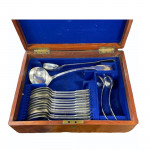 Victorian silver plate canteen of cutlery, 1885