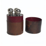 Leather-Cased Set of Three Silver-Mounted Spirit Flasks