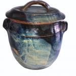 Mid 20th century studio pottery blue-glazed jar with lid.