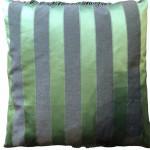 Victorian green-ground beadwork cushion with passementerie trim