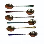 Boxed set of six Danish silver gilt and enamel coffee spoons, circa 1940